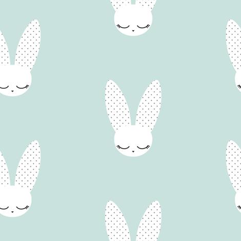Bunnies - Mint fabric by kimsa on Spoonflower - custom fabric