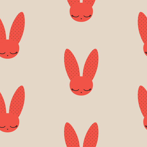 Bunnies - Red fabric by kimsa on Spoonflower - custom fabric