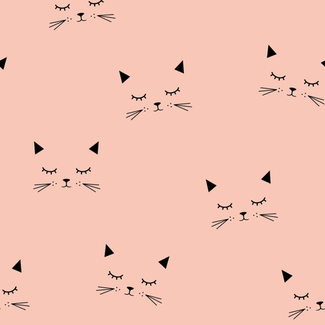 Cats - Coral fabric by kimsa on Spoonflower - custom fabric