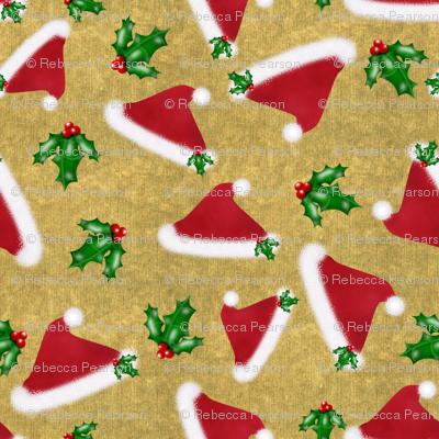 Santa hats and Holly