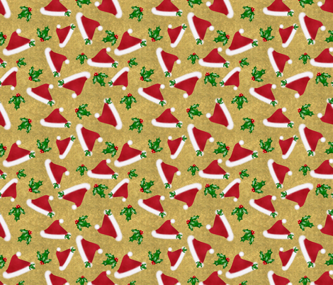 Santa hats and Holly fabric by rhyannon on Spoonflower - custom fabric