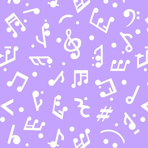 """Music Notes on Lilac BG"" medium scale."