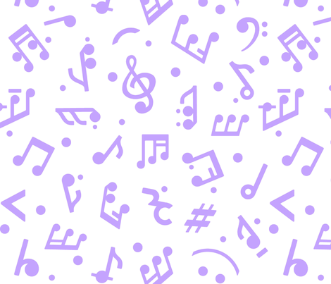 """Music Notes in Lilac"" medium scale. fabric by happyart on Spoonflower - custom fabric"