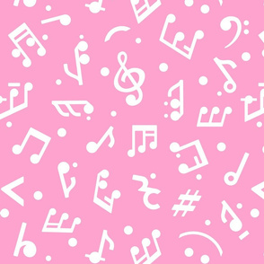 """Music Notes on Pink BG"" medium scale."