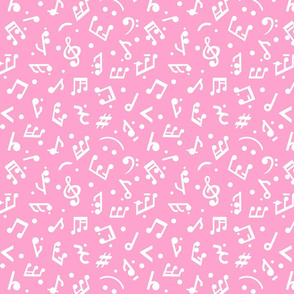 """Music Notes on Pink BG"" small scale."