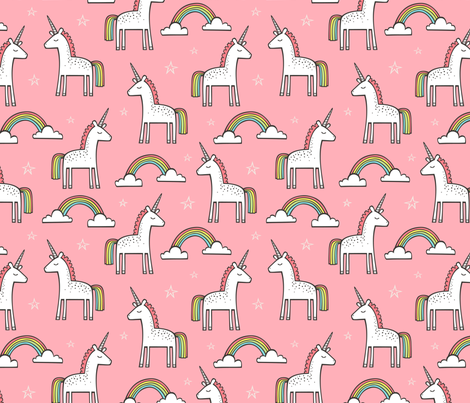 Cute Unicorn Rainbow in Pink fabric by caja_design on Spoonflower - custom fabric