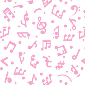 """Music Notes in Pink"" medium scale."