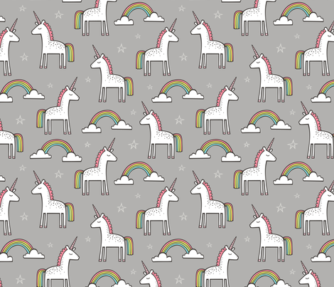 Cute Unicorn Rainbow in Grey fabric by caja_design on Spoonflower - custom fabric