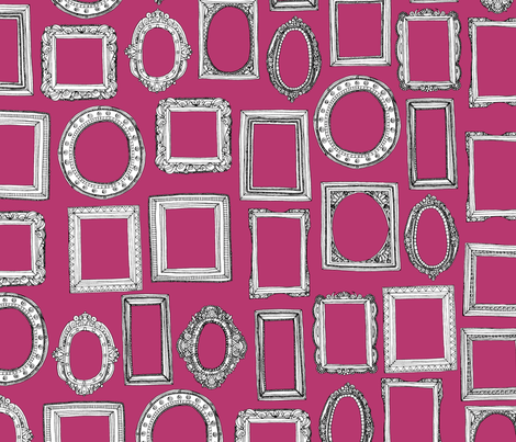 Picture frames fuchsia fabric scrummy spoonflower for Fabric picture frames