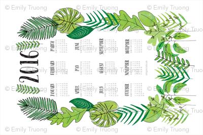 Botanical 2016 Tea Towel Calendar