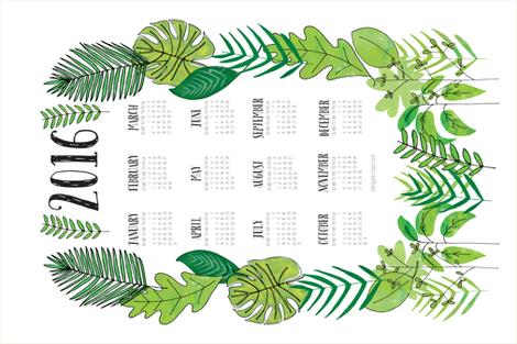 Botanical 2016 Tea Towel Calendar fabric by emilyannstudio on Spoonflower - custom fabric