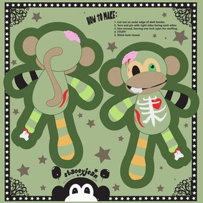 "TS - 4"" x 6"" Zombie Monkey Cut & Sew Pillow Doll KeyChain (test swatch)"