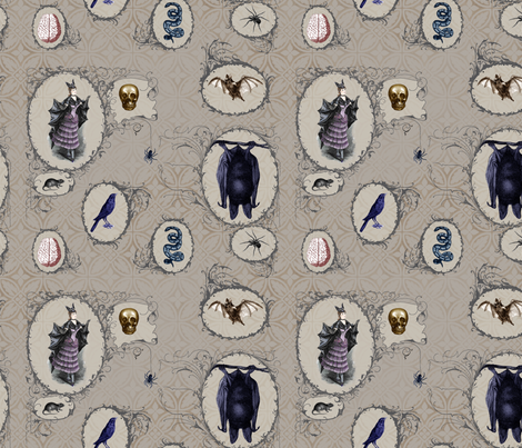 Bat Lady, Bats, Skulls, Snakes, Ravens, and Spiders fabric by costumewrangler on Spoonflower - custom fabric