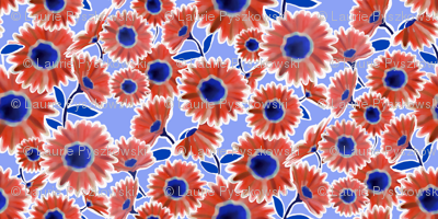 Red & White & Blue Flower Pattern