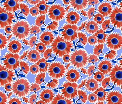 Red & White & Blue Flower Pattern fabric by lauriekentdesigns on Spoonflower - custom fabric