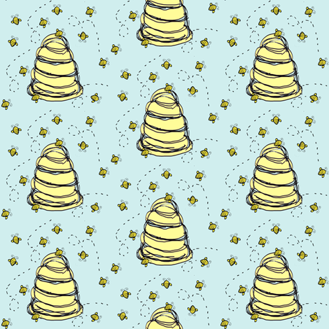 Baby Fabric / Cute Beehive Fabric in Blue Quilters Fabric fabric by ireneireneart on Spoonflower - custom fabric
