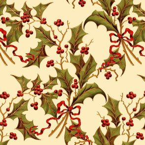 Christmas Holly ~ Trianon Cream