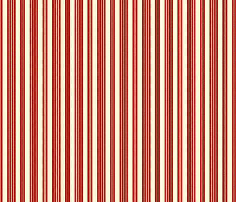 French Ticking ~ Turkey Red and Hameau ~ Woven  fabric by peacoquettedesigns on Spoonflower - custom fabric