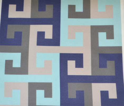 Tesselating T Greek Key Trendy Blues