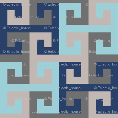 Tesselating T Greek Key Trendy Blues