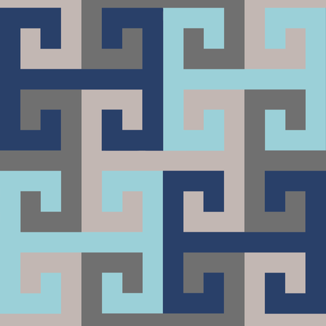 Tesselating T Greek Key Trendy Blues fabric by eclectic_house on Spoonflower - custom fabric