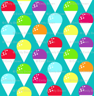 Snow cones on turquoise blue