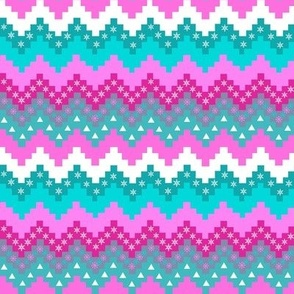 Christmas / Holiday  Chevron stripe / Pink and Teal