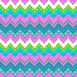 Scandinavian Christmas fabric, Snowflake fabric, Holiday fabric, Christmas stripe , pink and teal, snowflake, Elf,  Chevron