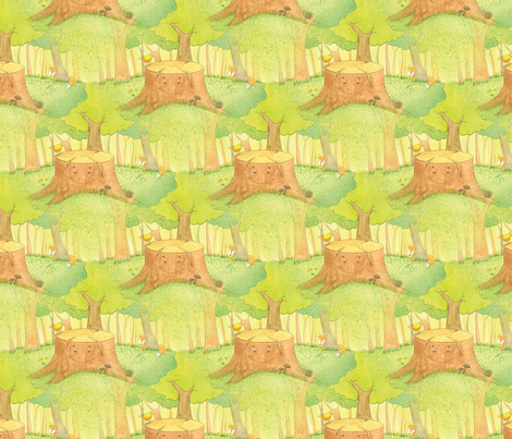 Silly Stump Fabric fabric by uponthemountaindesigns on Spoonflower - custom fabric
