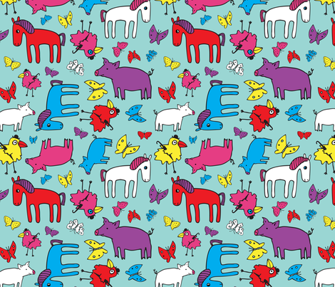 Pigs and Ponies fabric by cecca on Spoonflower - custom fabric