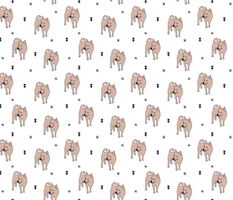 Adorable puppy dog illustration kids pattern design scandinavian style gender neutral fabric by littlesmilemakers on Spoonflower - custom fabric
