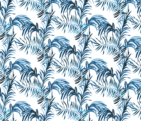 Tropical Palm (indigo linen) fabric by nouveau_bohemian on Spoonflower - custom fabric