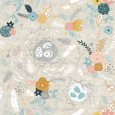 Feathers + Flowers (fawn)