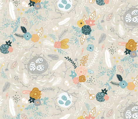 Feathers + Flowers (fawn) fabric by nouveau_bohemian on Spoonflower - custom fabric