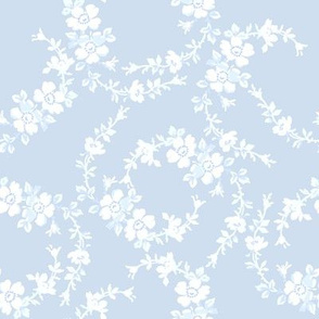 Lilla Wildflowers in white on pale blueberry