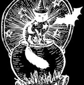 Black Cat Cauldron Wood Carving Repeat in Black