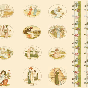 Kate Greenaway Language of Flowers quilt blocks & border 1