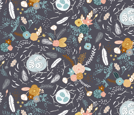 Feathers + Flowers (charcoal) fabric by nouveau_bohemian on Spoonflower - custom fabric