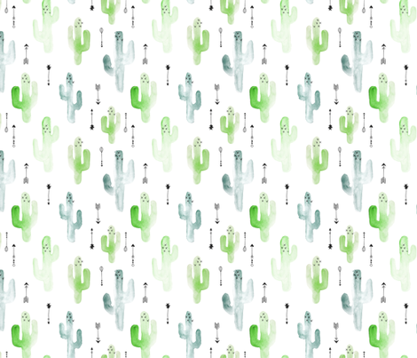 Watercolor cactus illustration indian summer theme with arrows in blue and green for boys fabric by littlesmilemakers on Spoonflower - custom fabric