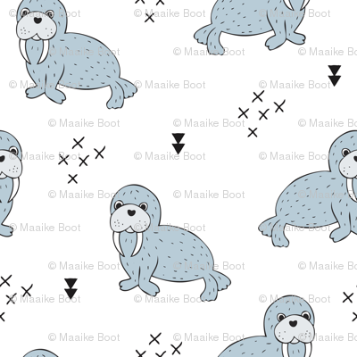 Adorable winter blue sea lion illustration geometric arrows scandinavian style sealion sealife animals