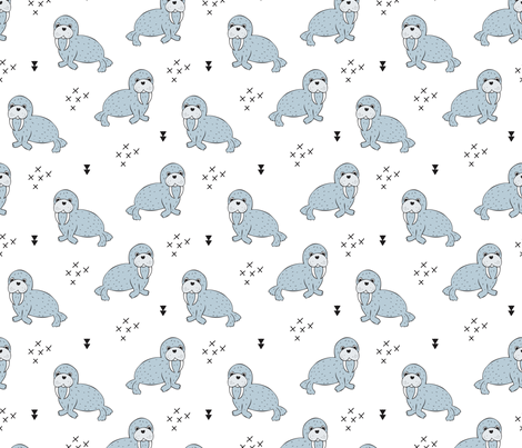 Adorable winter blue sea lion illustration geometric arrows scandinavian style sealion sealife animals fabric by littlesmilemakers on Spoonflower - custom fabric