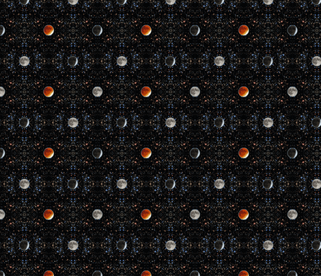 Super Blood Moon Phases Damask - small fabric by rusticcorgi on Spoonflower - custom fabric