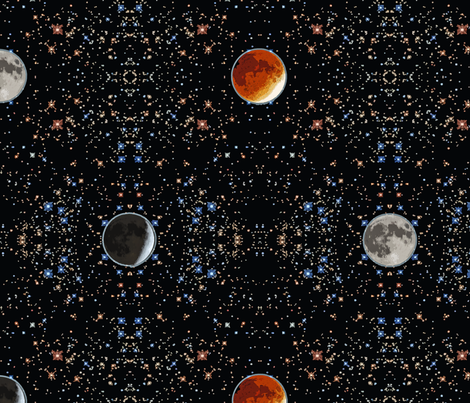 Super Blood Moon Phases Damask - large fabric by rusticcorgi on Spoonflower - custom fabric