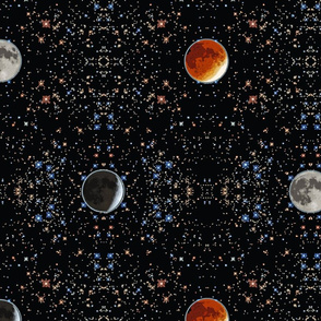 Super Blood Moon Phases Damask - large