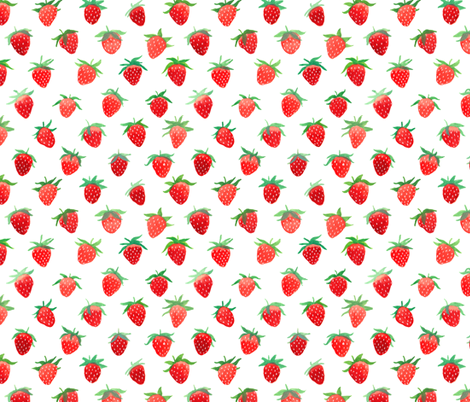 Strawberries on White fabric by kirsten_sevig on Spoonflower - custom fabric