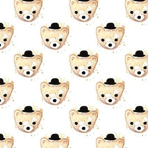 Watercolor hipster grizzly bears cute illustration for kids
