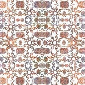 Tan rust  flower  inllay repeat pattern