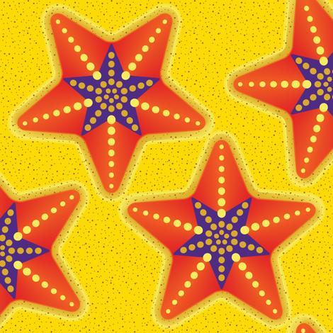 STARFISH Star Purple Orange Cut n Sew fabric by just_bananas_over_soft_toys on Spoonflower - custom fabric