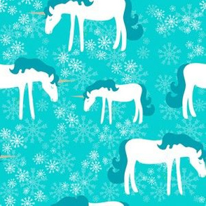 Winter unicorns with snowflakes