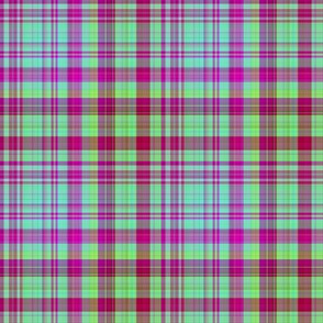 HOT GREEN AND RED FUSHIA CHERRY PLAID 1